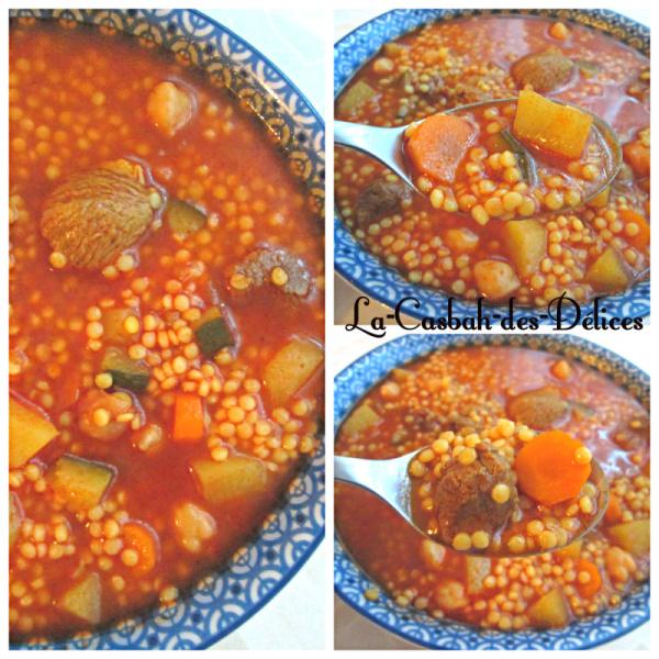 Berkoukes: petits plombs aux légumes
