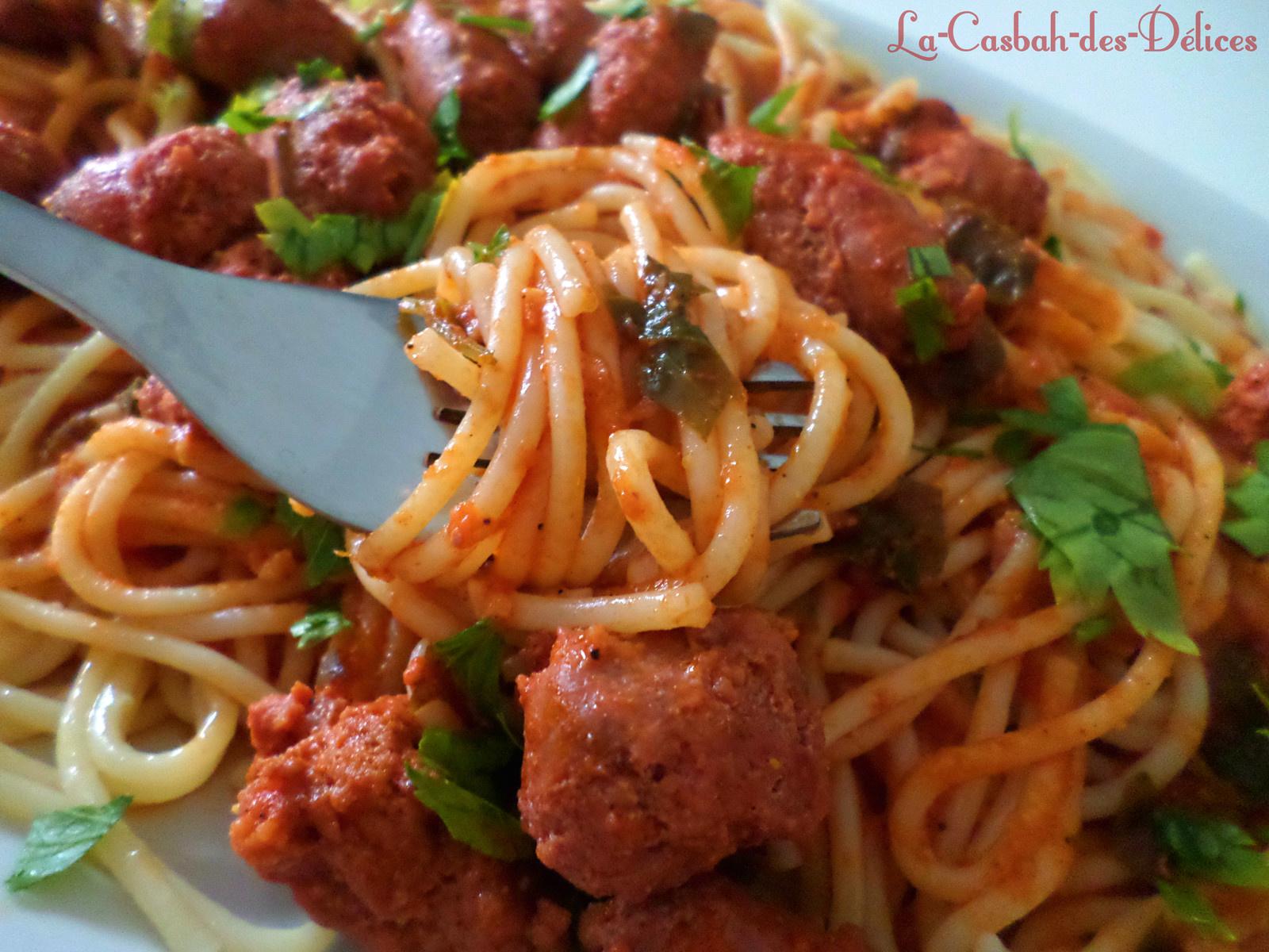 Spaghettis en sauce aux merguez