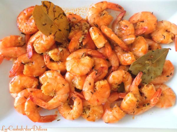 Crevettes à l'ail et aromates