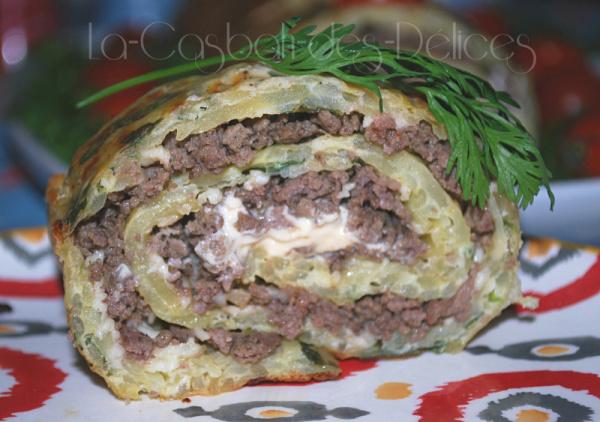 Roulé de pommes de terre à la viande hachée